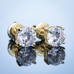 Round Princess Cut 14K Gold Plated Earrings